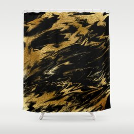 Luxury and sparkle gold glitter and black marble Shower Curtain