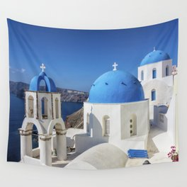 Santorini, Oia Village, Blue and White Church Wall Tapestry