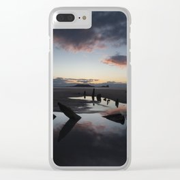 Sunset over the Helvetia at Rhossili Bay Clear iPhone Case