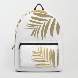 #Geometric #gold #white #leaves #pattern #tan #metal #bright #leaf #tropica #decor #buyart #society6 Backpack