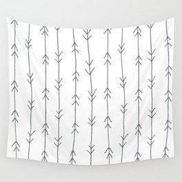 Grey, Steel: Arrows Pattern Wall Tapestry
