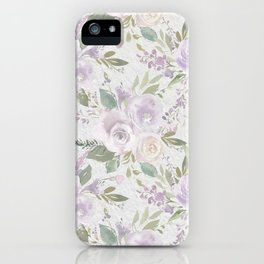 Lavender pastel green white watercolor floral pattern iPhone Case