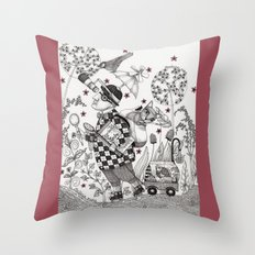 Mr. Hat goes to the Park Throw Pillow