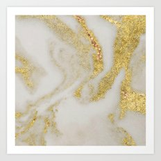 Marble - Swirled Shimmer Gold Marble Yellow on White Marble Art Print