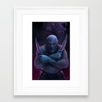 thanos Framed Art Prints featuring Drax and Thanos by Jaime Gervais