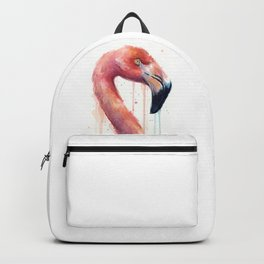 Watercolor Pink Flamingo Illustration | Facing Right Backpack