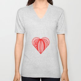 red heart . artlove Unisex V-Neck