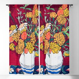 Marigold, Daisy and Wildflower Bouquet Fall Floral Still Life Painting on Eggplant Purple Blackout Curtain