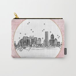 Boston, Massachusetts City Skyline Illustration Drawing Carry-All Pouch