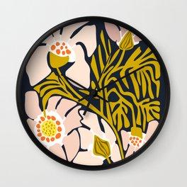 Backyard flower – modern floral illustration Wall Clock