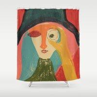 cinema Shower Curtains featuring Women in Cinema by Mariana Baldaia