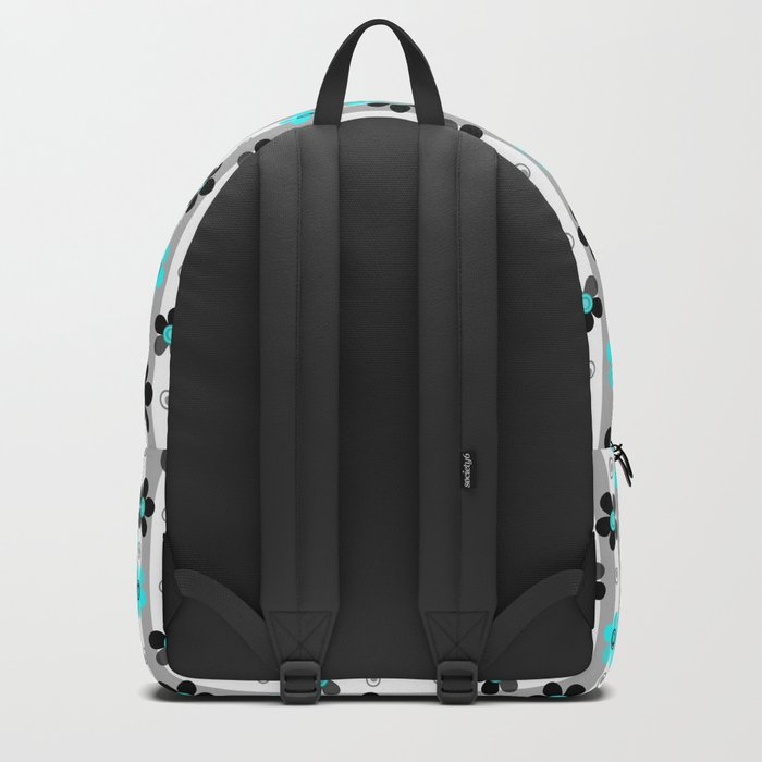 Black and turquoise floral pattern . Backpack