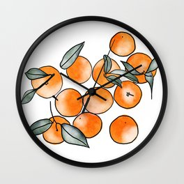 Watercolor Clementines Wall Clock
