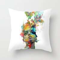 black cat Throw Pillows featuring Dream Theory by Archan Nair