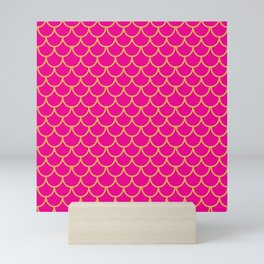 Mermaid Scales Pattern in Pink. Gold Scallops. Pink Mini Art Print