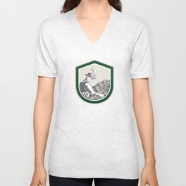 Fishmonger Chop Fish Shield Retro Unisex V-Neck