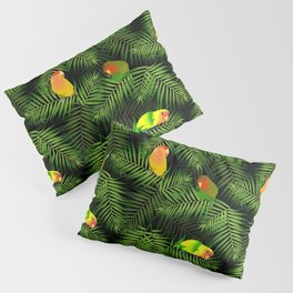 Lovebird Parrots in Green Palm Leaves on Black Pillow Sham