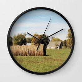 Rolled Hay Wall Clock
