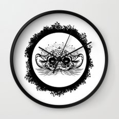 Half Cute Wild Cat Wall Clock