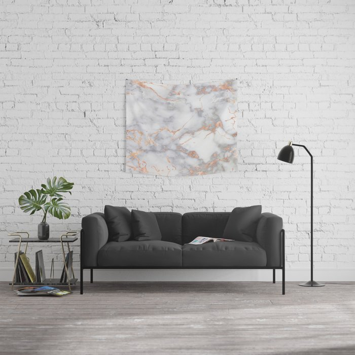 Gray Marble Rosegold  Glitter Pink Metallic Foil Style Wall Tapestry