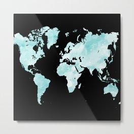 Design 72 world map aqua Metal Print