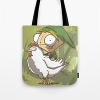 invader zim Tote Bags featuring Invader Link by Legendary Phoenix