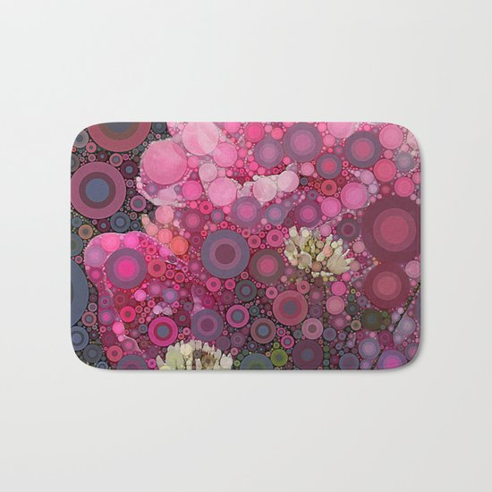 Pink Flowers at Twilight Abstract Bath Mat