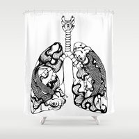 lungs Shower Curtains featuring Drowning Lungs (White) by Faryn Hughes
