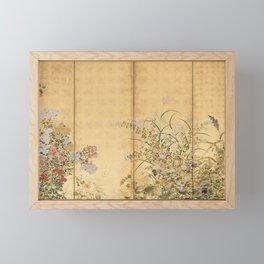 Japanese Edo Period Six-Panel Gold Leaf Screen - Spring and Autumn Flowers Framed Mini Art Print