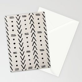 Mudcloth Black Geometric Shapes in White  Stationery Cards