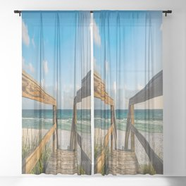 Head to the Beach - Boardwalk Leads to Summer Fun in Florida Sheer Curtain