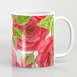 Red watercolor roses with leaves and buds pattern Coffee Mug