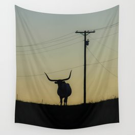 Longhorn at Sunset Wall Tapestry