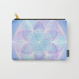 Flower of Life Energy Mandala | Light Frequency Sacred Geometry Mandala | Seed of Life Art  Carry-All Pouch