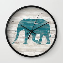 Rustic Teal Elephant on White Painted Wood A222a Wall Clock