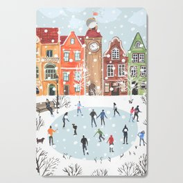 winter town Cutting Board