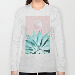 Stellar Agave and Full Moon - pastel aqua and pink Long Sleeve T-shirt