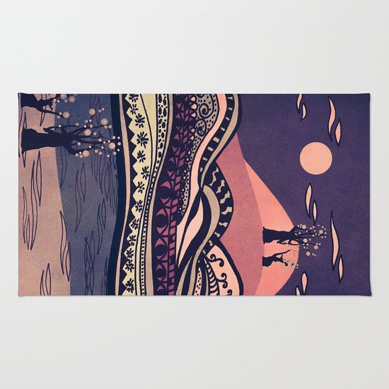 Psychedelic mountains (colour option) Rug
