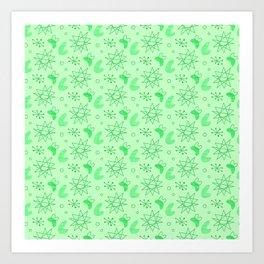 Neon Lime Green Midcentury Art Print