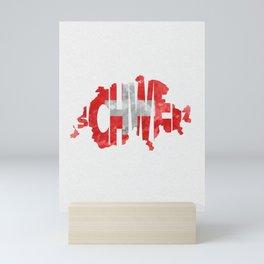 Schweiz / Switzerland Typographic Flag / Map Art Mini Art Print