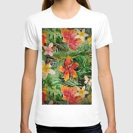 Tropical Vintage Exotic Jungle Flower Flowers - Floral watercolor pattern T-shirt