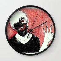 tokyo ghoul Wall Clocks featuring Kaneki - Tokyo Ghoul by Kelly Katastrophe
