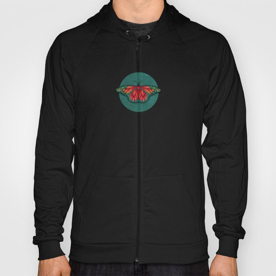 Butterfly in Jewel Colors on Teal Linen Hoody