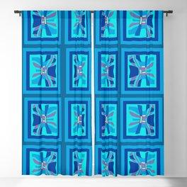 Wavy Geometric Blues Blackout Curtain