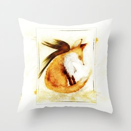 Winged Fox Sleeping Throw Pillow