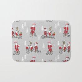 Santa christmas holiday hipster kids tandem bike with reindeer grey Bath Mat