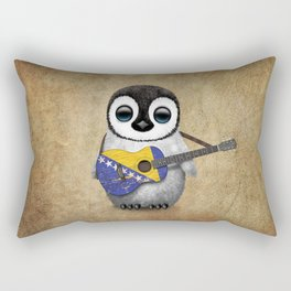 Baby Penguin Playing Bosnian Flag Acoustic Guitar Rectangular Pillow