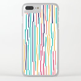 Colorful scribble lines abstract pattern Clear iPhone Case