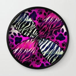 Grunge Florescent Animal Print  Wall Clock