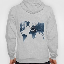 World Map Blue Watercolor by Zouzounio Art Hoody